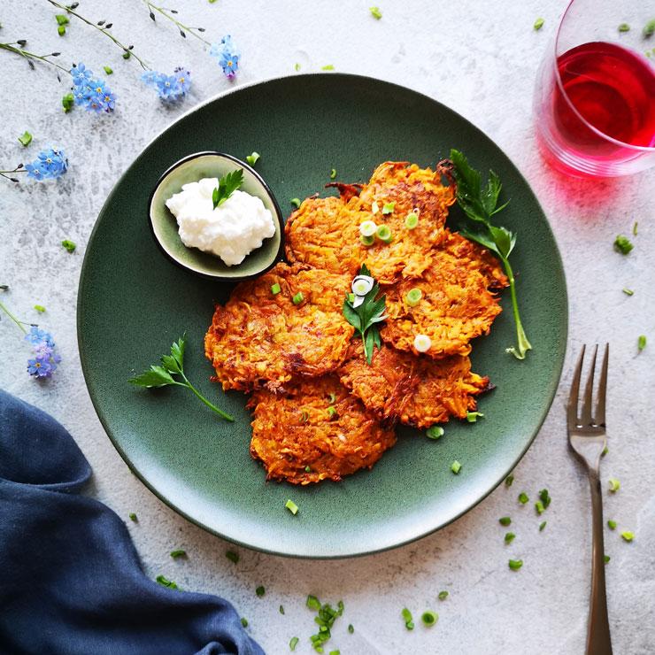 Vegetarische Süßkartoffelpuffer
